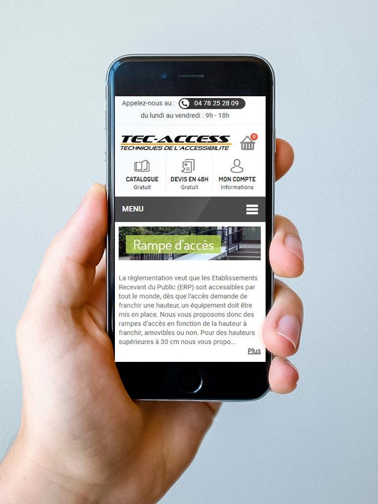 site internet médical - www.tec-access.fr affiché sur mobile