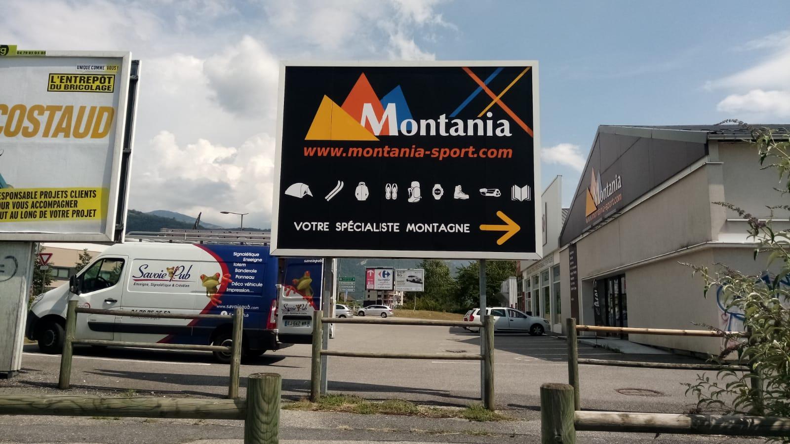 SIGNALÉTIQUE - PANNEAU 4X3 - MONTANIA SPORT - SAINT-ALBAN-LEYSSE- SAVOIE PUB