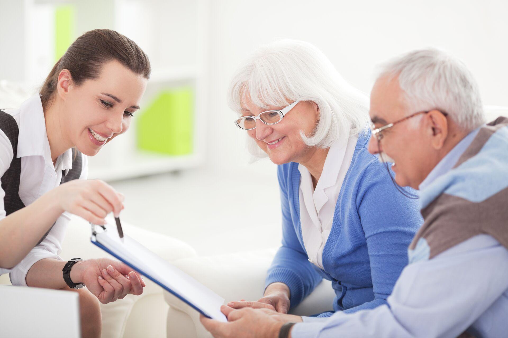 A senior couple taking a senior living assessment.