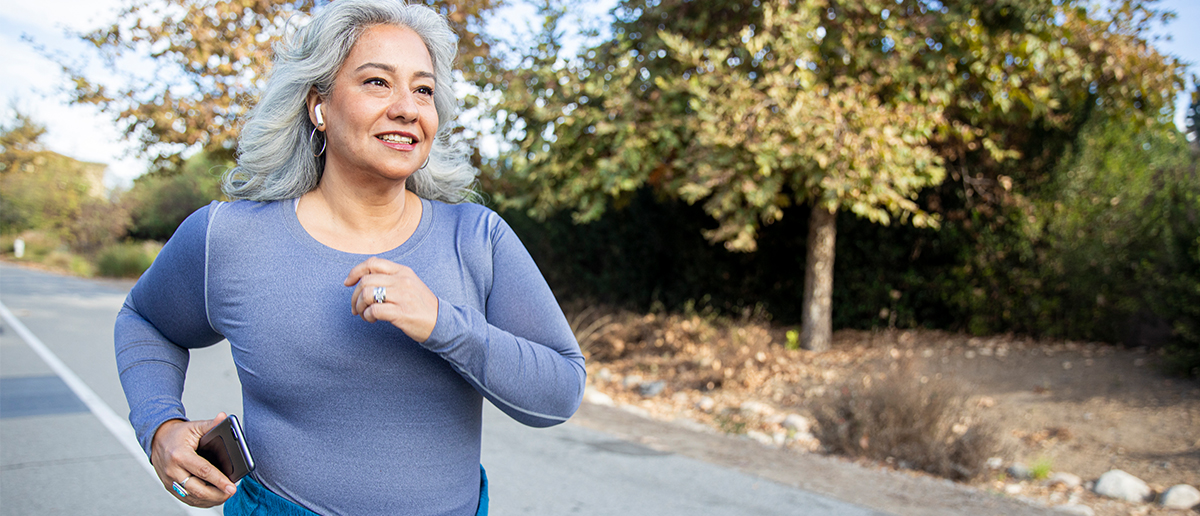 senior woman jogging outside