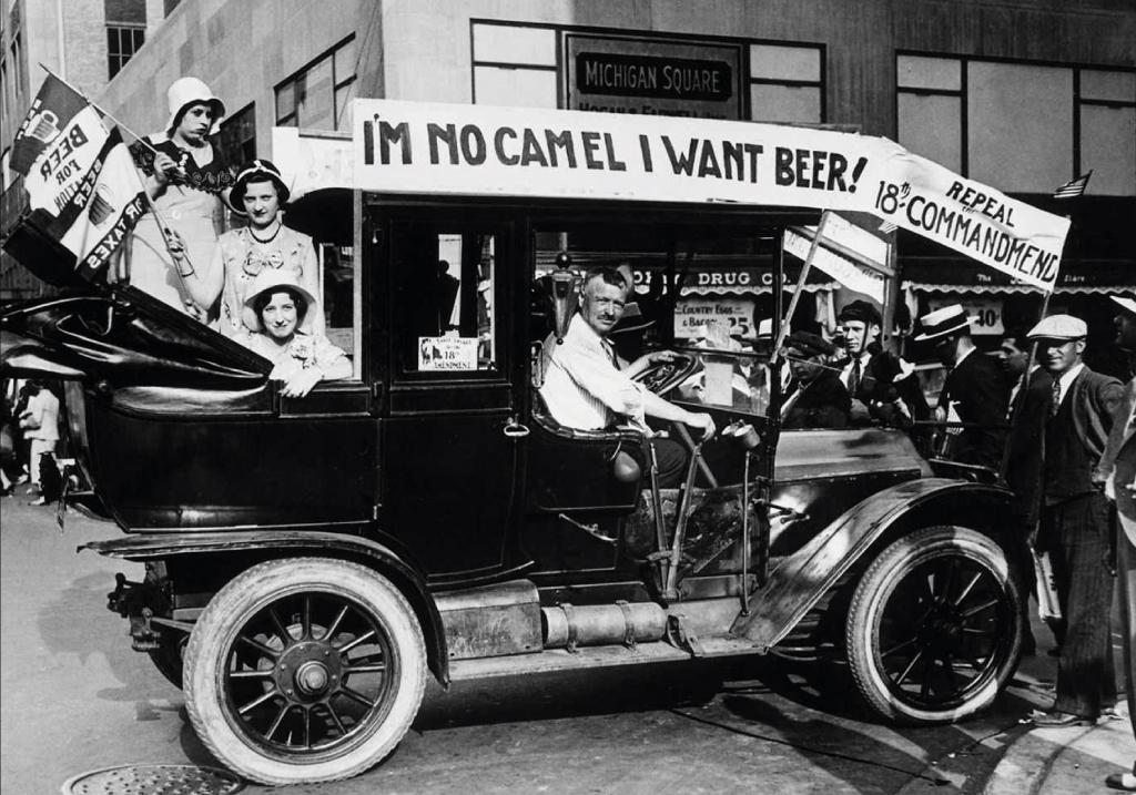 affiche prohibition noir et blanc bières