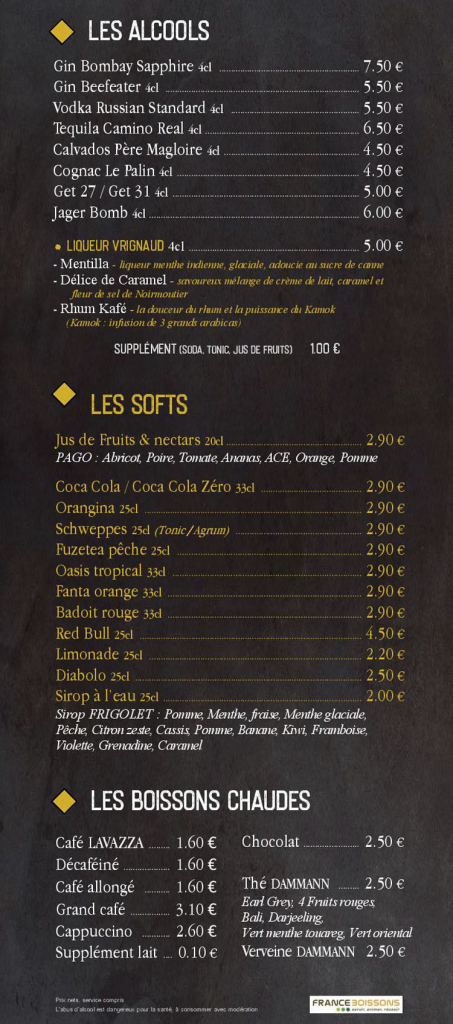 Carte softs et boissons chaudes bar Brest
