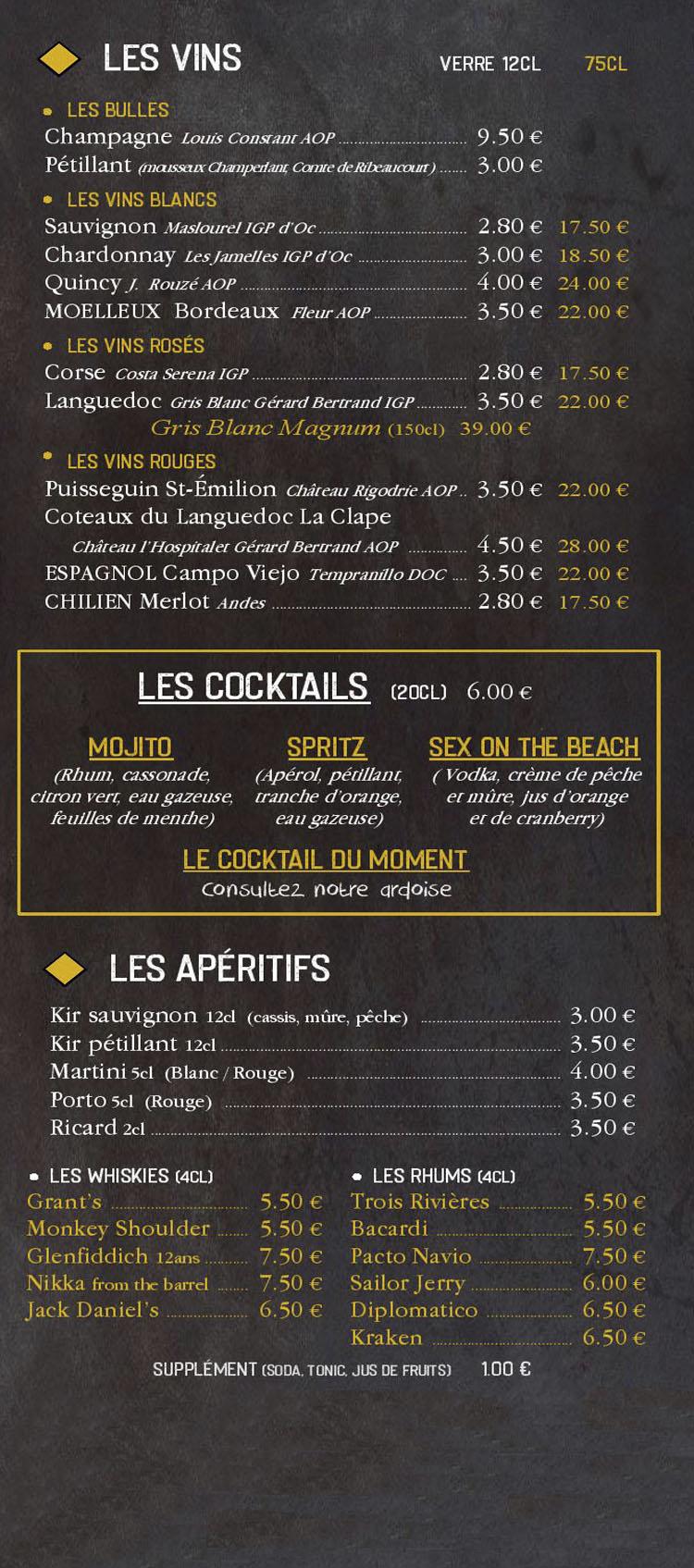 Carte bières cocktails bar Brest