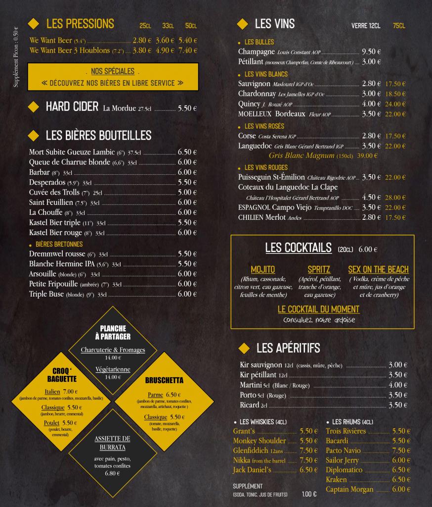carte boissons bar à bières Brest
