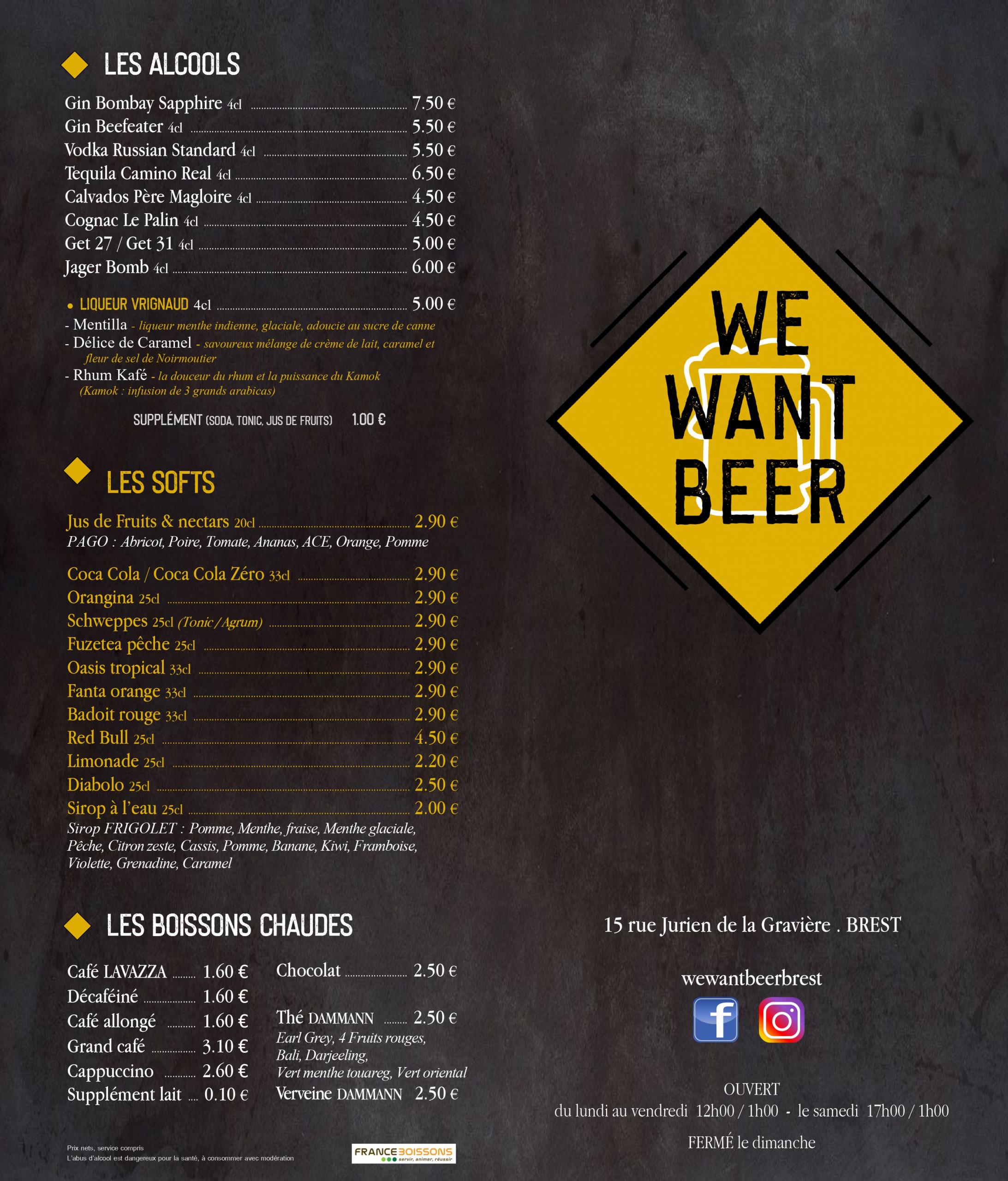 carte bar à bières Brest