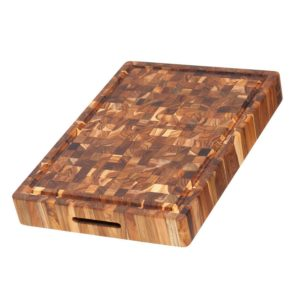 Teak Rectangular Cutting Board With Hand Grip And Juice Canal
