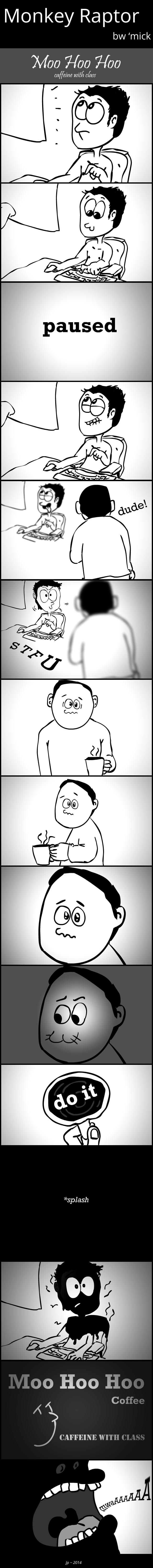 Monkey Raptor comic strip : Moo Hoo Hoo, caffeine with class
