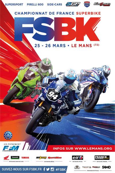 Affiche Championnat de France Superbike - Le Mans - 25/26 mars 2017