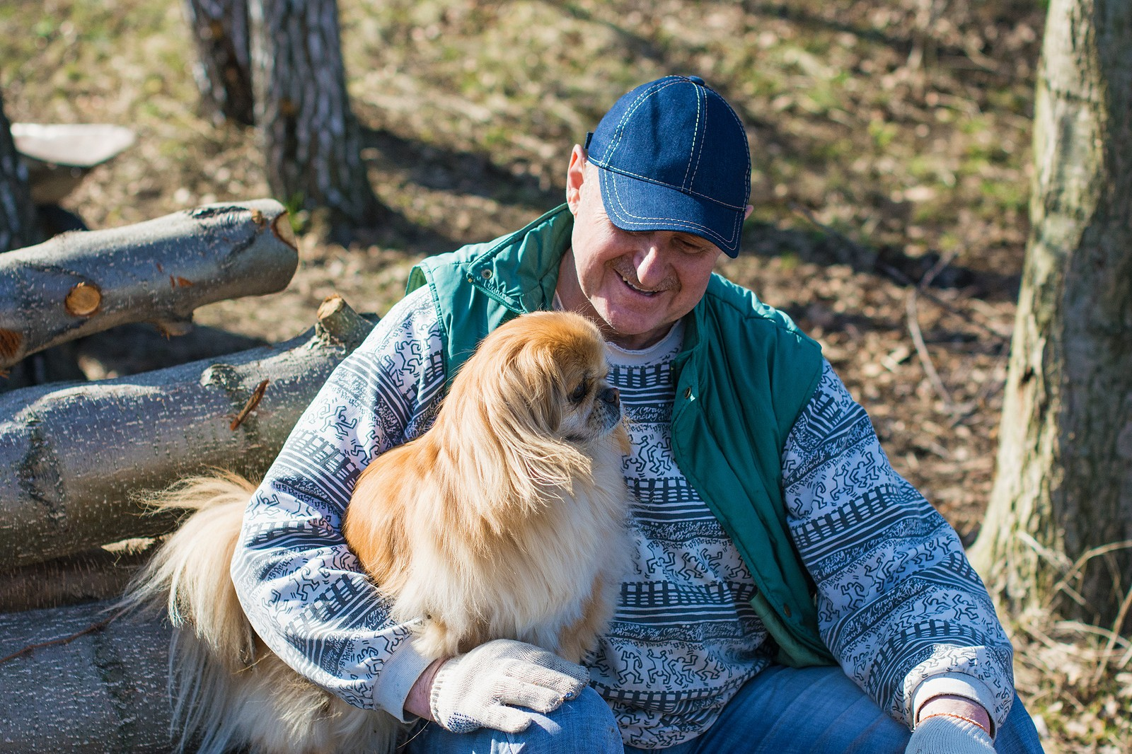 Senior man with small dog sitting in a park.