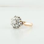 "Estate White & Rose Gold 14K Beautiful White Diamond ""Malinka"" Jewelry Ring"