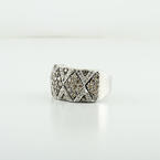 Gorgeous Fancy Brown & White Natural Diamond Triangle Design 14K White Gold Ring