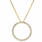 Vintage Ladies 14K Yellow Gold Diamond 0.75CTW Eternity Pendant Chain Necklace