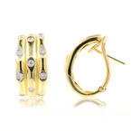 Classic Estate 14K Yellow Gold Diamond Huggie Hoop Omega Back Earrings - 0.44CTW