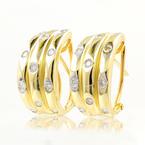 Classic Estate 14K Yellow Gold Diamond Huggie Hoop Omega Back Earrings - 0.44CTW