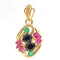 Vintage 14K Yellow Gold Multicolored Emerald Ruby Sapphire Gemstone Pendant