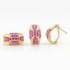 Ladies Classic Estate 14K Yellow Gold Red Spinel Ring & Earrings Jewelry Set