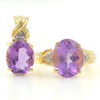 Ladies Vintage Estate 10K Yellow Gold Diamond & Amethyst Gemstone Ring & Pendant Jewelry Set