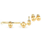 Vintage Classic 14K Yellow Gold Cultured Pearl Diamond 4PC Jewelry Set