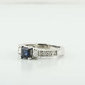 1/2 Carat Blue Sapphire Three Stone Diamond 14K White Gold Engagement Ring