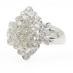 Classic Ladies 18K White Gold Baguette Round Diamond 1.00CTW Ring