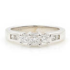 Classic 14K White Gold Ladies Three Stone Princess Cut Diamond Engagement Ring