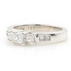 Classic Ladies 14K White Gold Three Stone Princess Cut Diamond Engagement Ring Jewelry