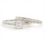 Classic Modern 18K White Gold Princess Cut GSL Diamond Wedding Ring Duo Set