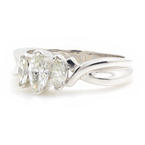 Modern Ladies 14K White Gold Three Stone Diamond Anniversary Ring -  0.55CTW
