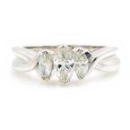 Modern Ladies 14K White Gold Three Stone Diamond Anniversary Ring -  0.55CTW