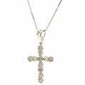 "Classic Estate 14K White Gold Diamond .75CTW Cross Pendant 18"" Chain Necklace"