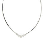 "Classic Ladies 14K White Gold Diamond 0.40CTW Omega 17"" Necklace"