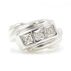 Estate Vintage 14K White Gold Round Cut Diamond 0.15CTW Bypass Ring Band