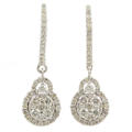 Modern Ladies 14K White Gold Brilliant Diamond 1.35CTW Drop Huggie Earrings