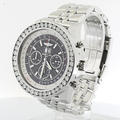 Breitling Bentley Diamond Bezel Over 4 CT Mens 6.75 Chronograph Black Dial Watch
