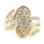 Estate Ladies 10K Yellow Gold Diamond 1.25CTW Bypass Cluster Right Hand Ring