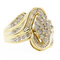 Ladies Vintage Estate 10K Yellow Gold Diamond Bypass Cluster Ring - 1.25CTW