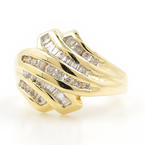 Estate Vintage 10K Yellow Gold Diamond 0.75CTW Bypass Right Hand Cocktail Ring