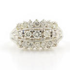 Classic Estate Ladies 14K White Gold Diamond 1.15CTW Right Hand Ring