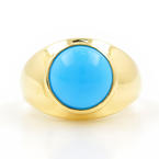 Ladies Estate 18K Yellow Gold Bezel Set Cabochon Turquoise Ring