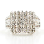 Beautiful Vintage Estate 14K White Gold Diamond 0.35CTW Pyramid Beautiful Ladies Ring