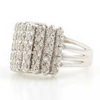 Estate Vintage 14K White Gold Diamond 0.35CTW Pyramid Right Hand Ring