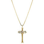 "Vintage Estate 14K Yellow Gold Diamond Cross Pendant 20"" Box Chain Necklace"