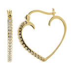 Charming 10K Yellow Gold Heart Diamond 0.45CTW 25MM Earrings