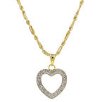 "Estate 10K Yellow Gold Cubic Zirconia Heart Pendant 20"" Rope Chain Necklace"