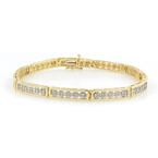 "Ladies Vintage Estate 14K Yellow Gold Diamond 1.10CTW 7 1/2"" Bracelet"