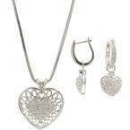 Modern 14K White Gold Diamond 0.80CTW Heart Huggie Earrings Pendant Necklace