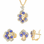 Estate 18K Yellow Gold Sapphire Diamond Necklace Pendant Ring Earrings Set