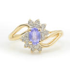 Vintage Ladies 14K Yellow Gold Iolite Diamond 0.40CTW Right Hand Ring