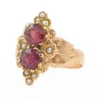 Vintage Estate Ladies 14K Rose Gold Garnet Pearl  Ring