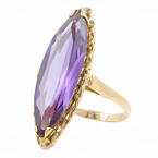 Vintage Estate 10K Yellow Gold Violet Blue Sapphire Cocktail Right Hand Ring